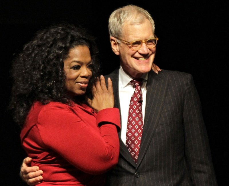 Oprah Winfrey and David Letterman appear on stage in November at Ball State University in Muncie, Ind., where they taped an interview that aired Sunday.