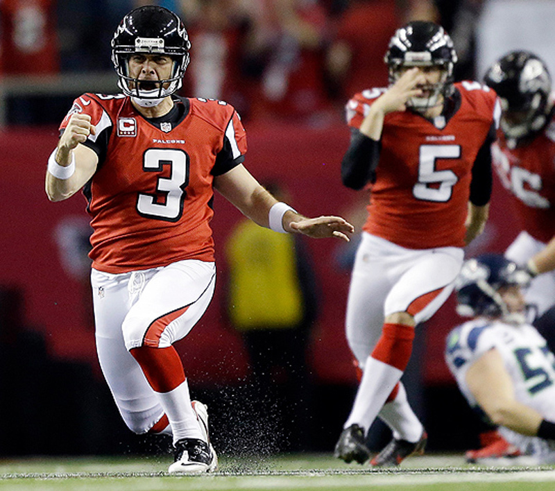 Falcons kicker Matt Bryants (3) celebrates after kicking a 49-yard field goal with 8 seconds left to give Atlanta a 30-28 win over the Seattle Seahawks in Sunday's NFC divisional playoff game. Georgia Dome