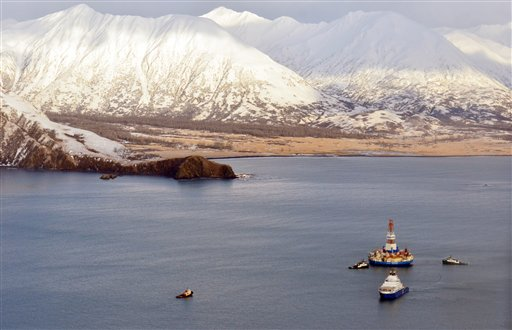 The Shell floating drill rig Kulluk is seen in Kodiak Island's Kiliuda Bay on Monday afternoon.The Kulluk, which ran aground a week ago on Sitkalidak Island near Kodiak, was taken to Kiliuda Bay for repairs and assessment of its seaworthiness.