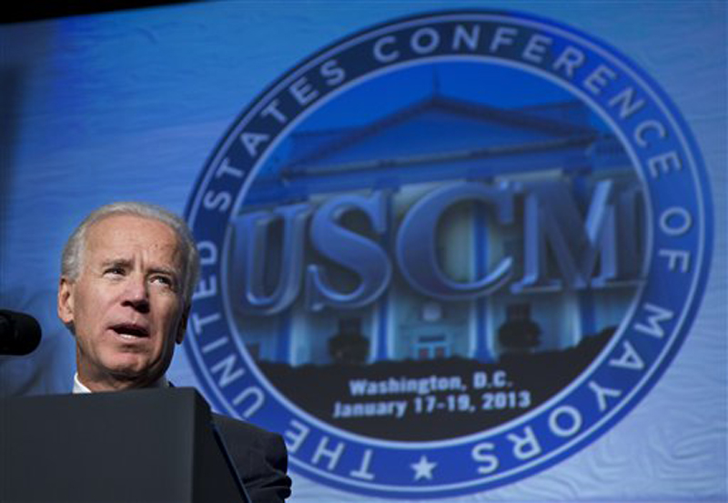 Vice President Joe Biden addresses the U.S. Conference of Mayors 81st winter meeting in Washington on Thursday.