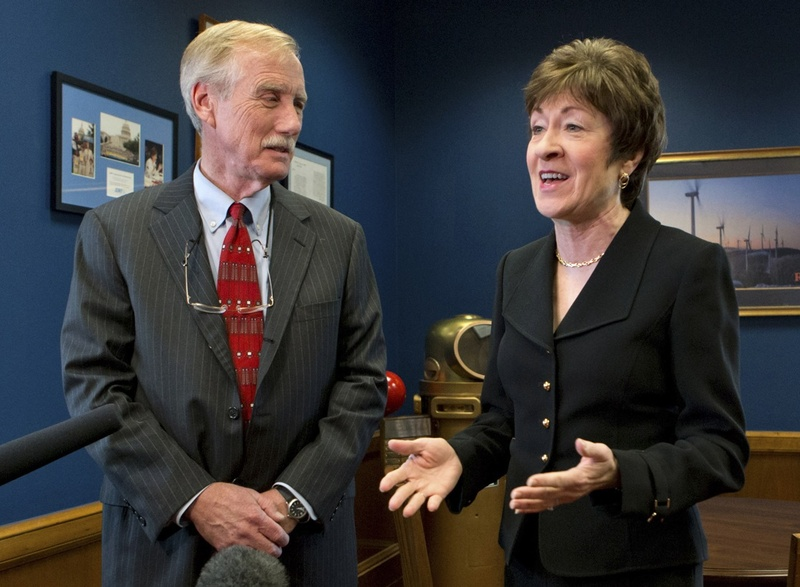 Independent Sen.-elect Angus King meets with Republican Sen. Susan Collins on Capitol Hill in November. Collins is leaving the Senate Homeland Security and Governmental Affairs Committee to serve on the Senate Intelligence Committee. King has a seat on the Intelligence Committee.
