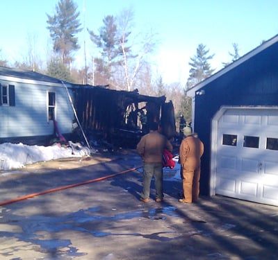 A mobile home at 534 Hallowell Road in Chelsea was partially destroyed by fire Monday morning, leaving a family of three homeless.