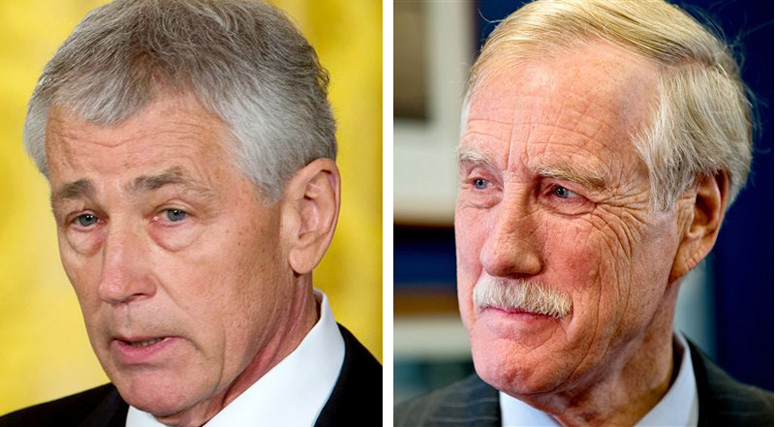 Former Sen. Chuck Hagel, left, and Maine Sen. Angus King