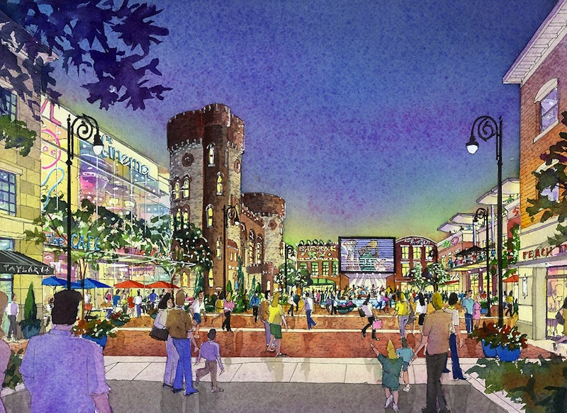 This artist rendering provided by MGM Resorts International via The Republican on Wednesday, Aug. 22, 2012, shows a view of Armory Square, part of a proposed casino complex in Springfield, Mass. The complex would be built on 10 acres heavily damaged by a tornado that hit the city in June 2011. The proposal includes a 250-room hotel, 89,000 square feet of gambling space and 70,000 square feet of retail and restaurant space. (AP Photo/MGM Resorts International via Springfield Republican)