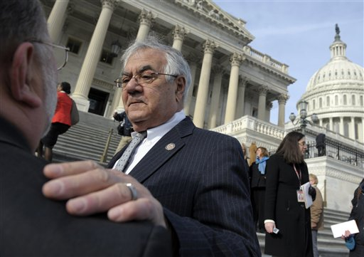 Retiring Rep. Barney Frank, D-Mass. talks on Capitol Hill last week, prior to the start of the 113th Congress. Joseph Kennedy III was sworn in to replace Frank.