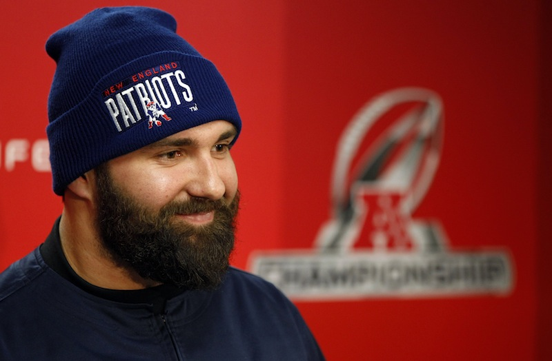 New England Patriots defensive end Rob Ninkovich (50) smiles as he responds to a reporter's question during a media availability at the NFL football team's facility, Thursday, Jan. 17, 2013, in Foxborough, Mass. The Patriots are scheduled to host the Baltimore Ravens in the AFC championship game Sunday. (AP Photo/Stephan Savoia)