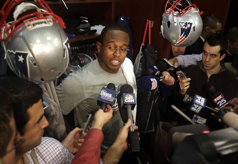 New England Patriots wide receiver and special-teams captain Matthew Slater speaks with reporters in the football team's locker room at Gillette Stadium, in Foxborough, Mass., Monday, Jan. 14, 2013. (AP Photo/Steven Senne)