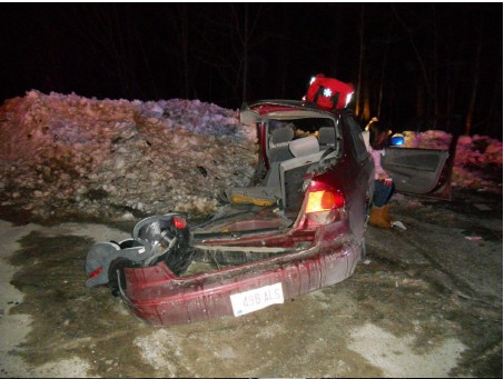 This image shows the vehicle driven by 19-year-old Chynna Blaney of Raymond which was damaged in a crash Thursday, Jan. 3, 2013.
