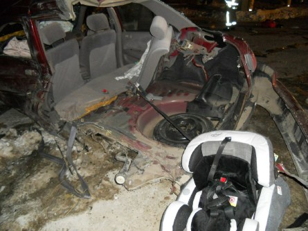This image shows the vehicle driven by 19-year-old Chynna Blaney of Raymond which was damaged in a crash Thursday, Jan. 3, 2013. Blaney's 6-month-old child was riding in the baby safety seat.