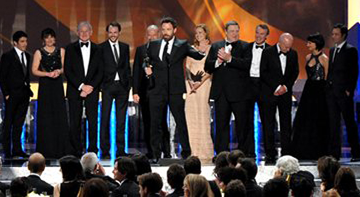 Ben Affleck, center, and the cast of