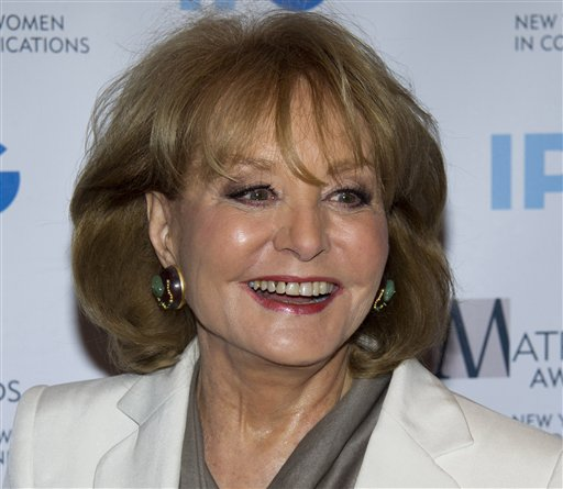 Veteran ABC newswoman Barbara Walters, shown here in a 2012 photo, fell at a presidential inauguration party in Washington and has been hospitalized for chicken pox.