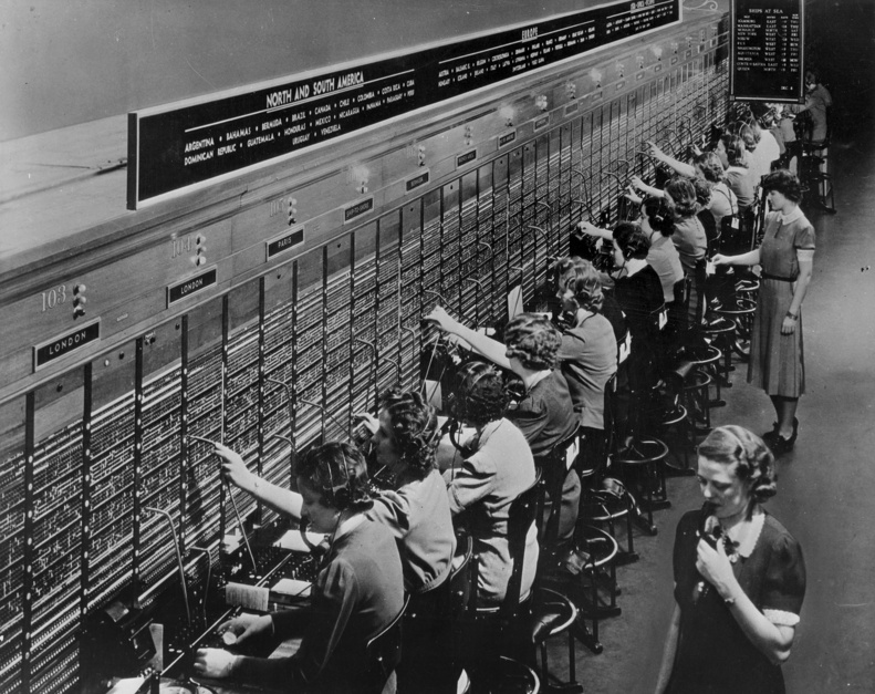 """Telephone Switchboard Operators"""" from """"The Way We Worked,"""" an exhibition opening Feb. 8 at Museum L-A in Lewiston."""