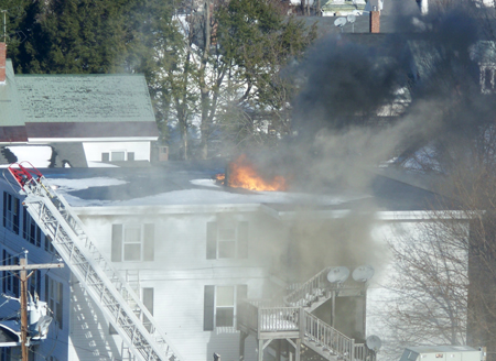 A six-unit apartment building at 55 Sewall St., Augusta, caught fire Thursday afternoon.