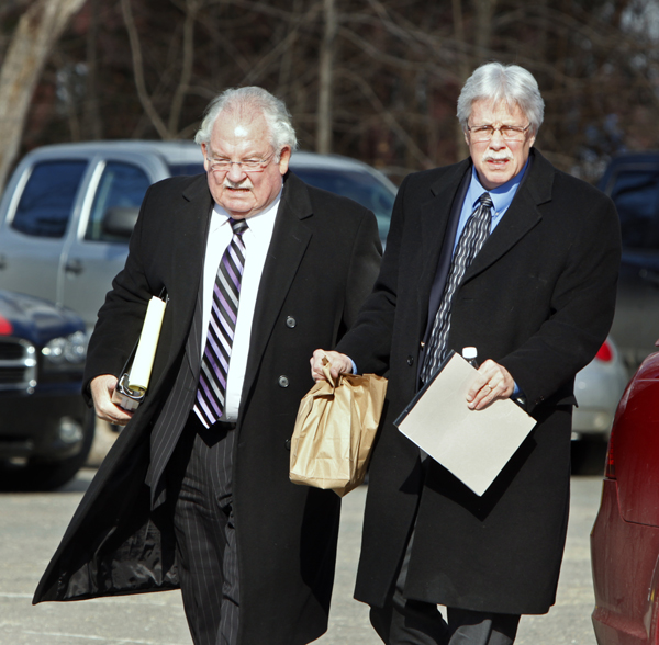 Mark Strong and his attorney Daniel Lilley enter York County Superior Court in Alfred after returning from a lunch break on Tuesday.