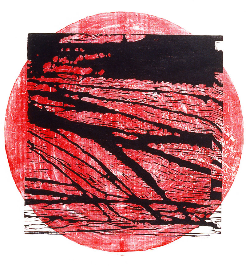 """""""River: Hiroshima,"""" woodcut and metal type created in 2001 by Dorothy Schwartz."""