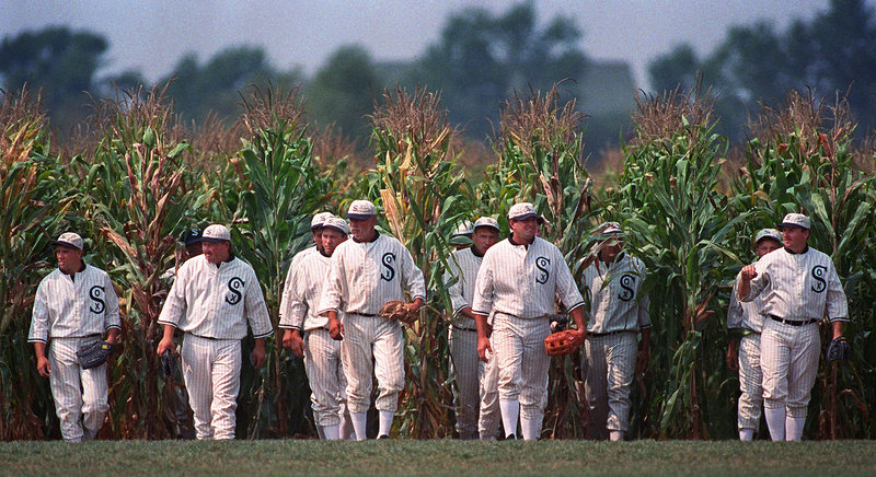 "Ghost players similar to those in the film ""Field of Dreams"" emerge from the cornfield at the movie site in Dyersville, Iowa."