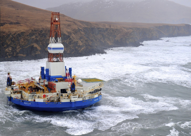 The Royal Dutch Shell drilling rig Kulluk lies aground off Sitkalidak Island, near Kodiak Island in Alaska, this week. No oil leaks have been seen from the drilling ship.