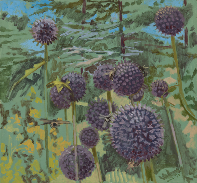 """Globe Thistle,"" oil on masonite, 1996"