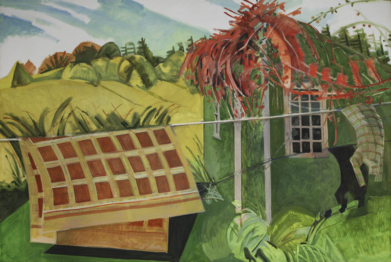 "Lois Dodd's ""Red Vine and Blanket"""