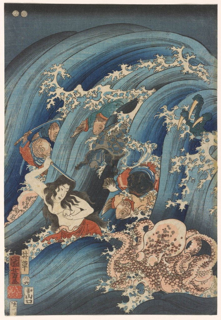 """Tamahime Attempts to Escape from the Sea Dragon and its Minions"" by Utagawa Kuniyoshi, 1853, color woodblocks."