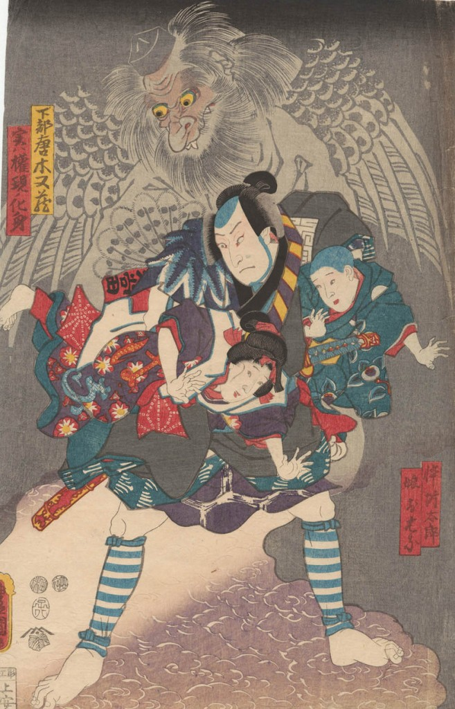 """Manifestation of the Tengu"" by Utagawa Kunisada, 1852, color woodblocks."