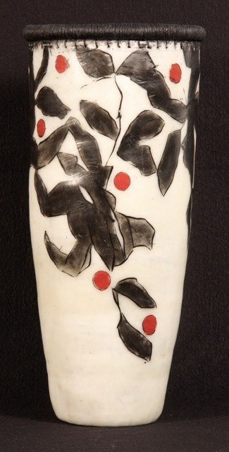 """Berry Basket,"" encaustic-painted vase by Lissa Hunter, from the Maine Women Pioneers exhibition at the University of New England."