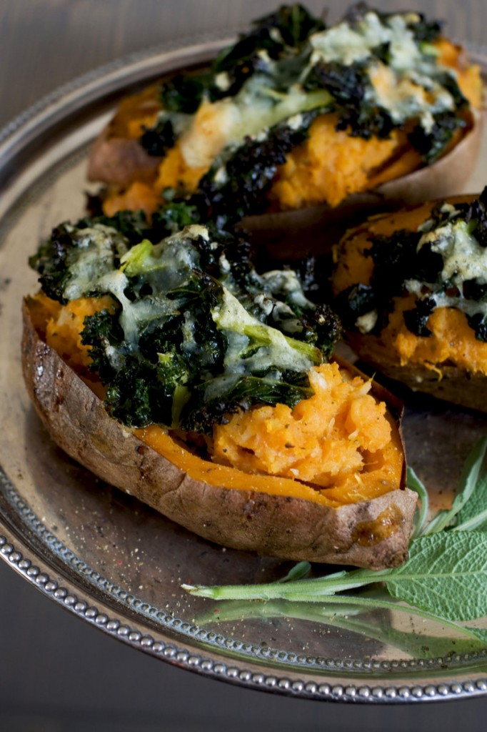 The loaded sweet potato with roasted garlic will easily stand alone as a meatless meal, but it also would pair well with leftover or rotisserie chicken.