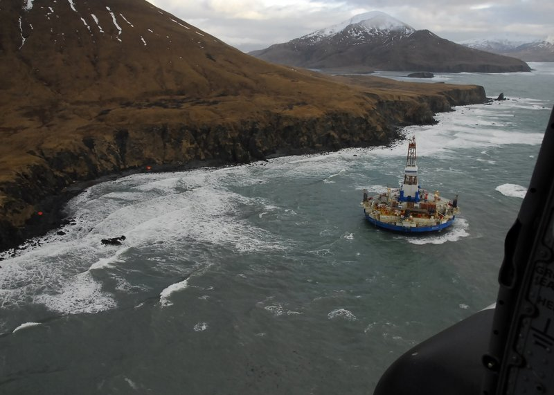 There's no sign that oil has spilled from the drilling barge Kulluk, which ran aground New Year's Eve during a storm.
