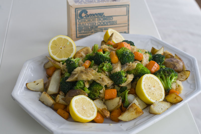 Soaked salt cod becomes a meaty, delicious dinner with roasted potatoes and vegetables.