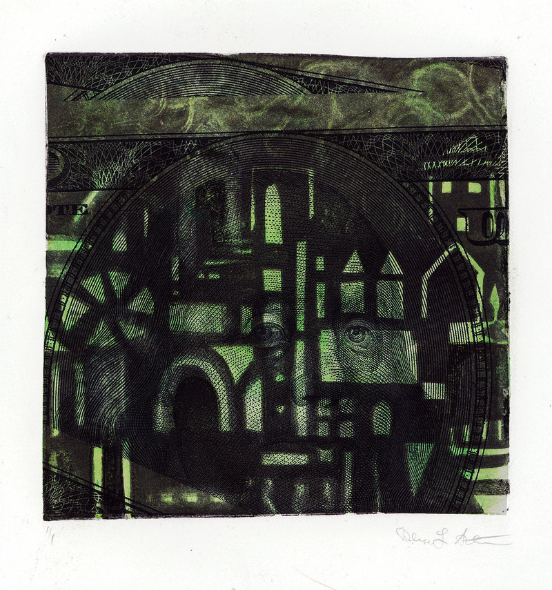 "Debra L. Arter's ""Green Landscape,"" collagraph with chine collie, 2011."