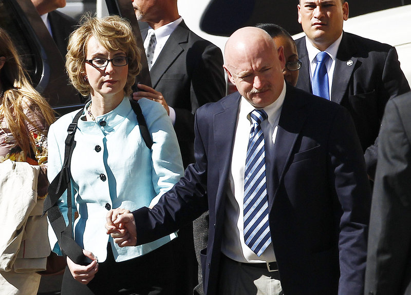 Gabrielle Giffords and her husband, Mark Kelly, launched a political action committee Tuesday aimed at curbing gun violence.