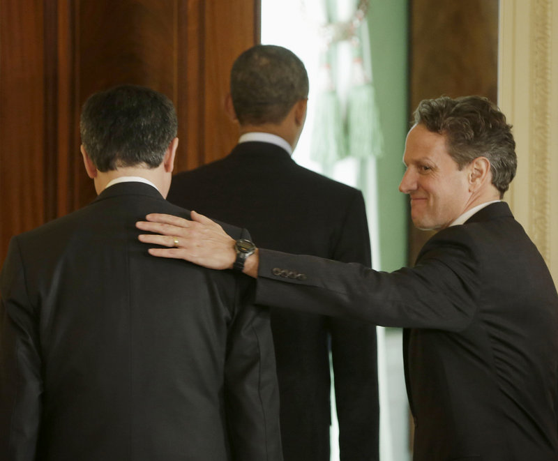 Outgoing Treasury Secretary Timothy Geithner, right, pats the back of White House chief of staff Jack Lew as they walk out with President Obama from the East Room on Thursday after Obama announced he will nominate Lew to succeed Geithner as Treasury secretary.