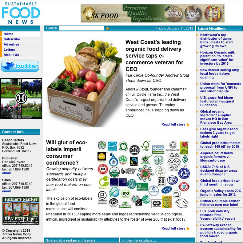 This snapshot of the digital magazine sustainable Food News was taken on Jan. 11.