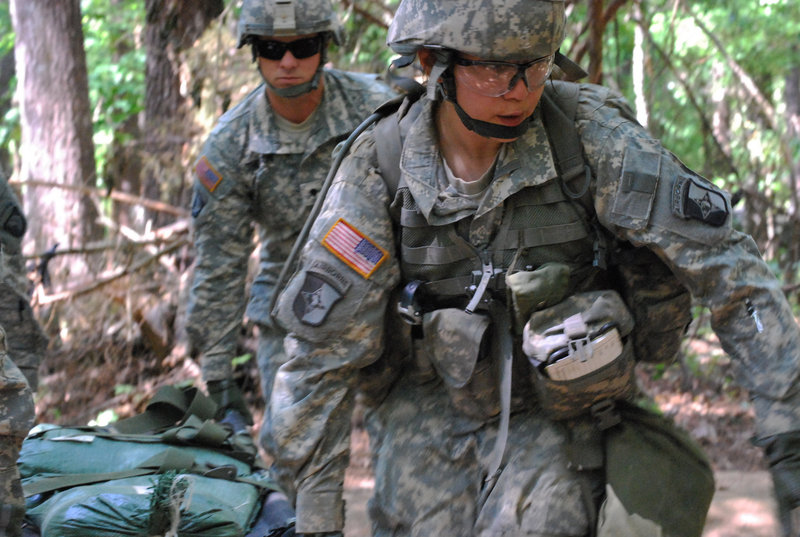 Capt. Sara Rodriguez, 26, of the 101st Airborne Division, is seen during the Expert Field Medical Badge training at Fort Campbell, Ky. A lawsuit under way, however, seeks to allow women to train, and perform, in direct combat.