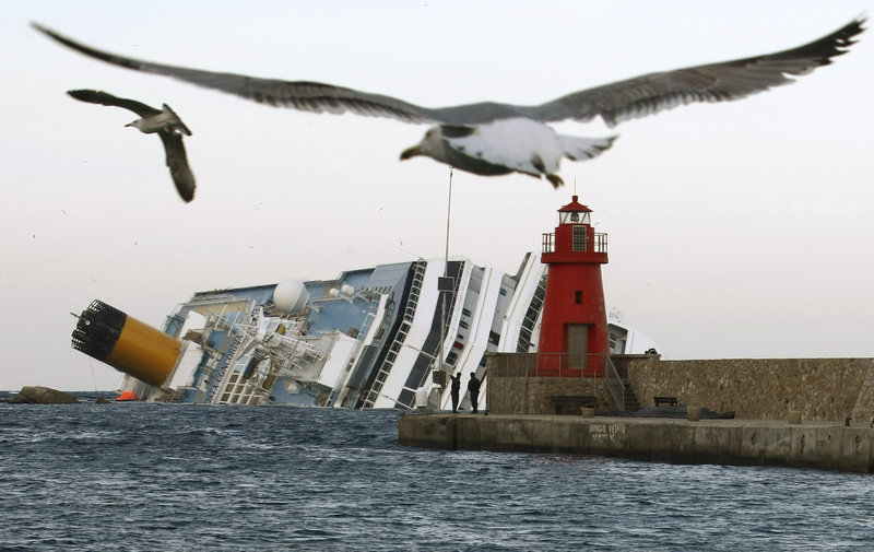 The Costa Concordia remains high and dry off the Tuscan island of Giglio, Italy. The ship went aground on Jan. 13, 2012.
