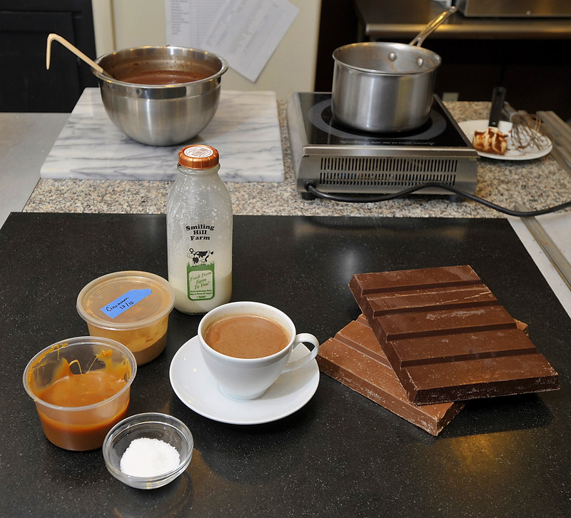 Ingredients include Maine sea salt, caramel, cinnamon, whole milk and El Rey bittersweet and milk chocolate.