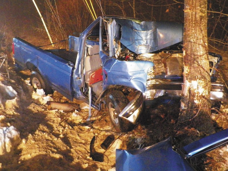 Police said a 17-year-old Wayne boy was driving a 1993 Ford F-150 east on fog-blanketed Lane Road in Readfield when he failed to stop at an intersection and hit a tree head-on.