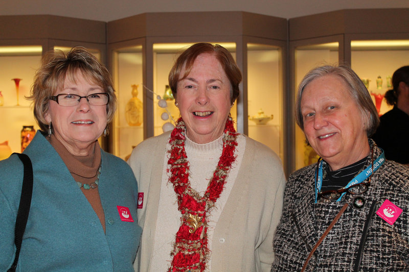 Ardent fans of the artist Phyllis MacIsaac and Barbara Hoppin of Peaks Island and Beth Sanders of Great Diamond Island attended Dodd's discussion of her work at the Holiday Inn by the Bay before the exhibit's opening.
