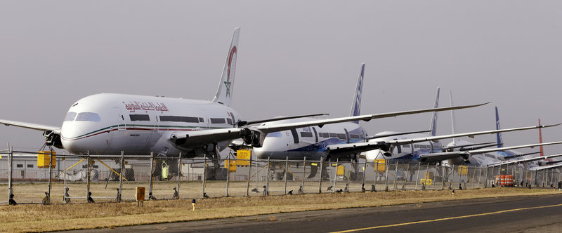 Boeing 787 Dreamliners sit parked Thursday at Paine Field in Everett, Wash. The Federal Aviation Administration has grounded the technologically advanced aircraft until the risk of battery fires and corrosion is resolved.
