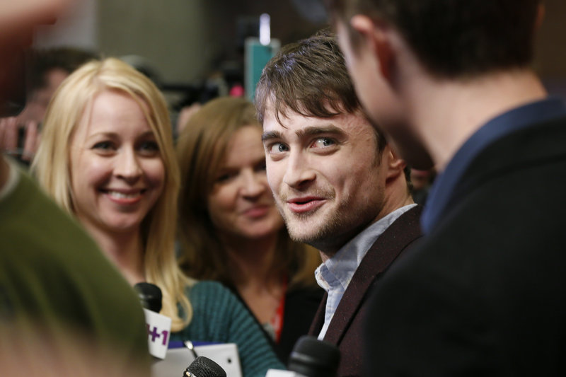 "Actor Daniel Radcliffe is interviewed at the premiere of ""Kill Your Darlings"" during the 2013 Sundance Film Festival on Friday in Park City, Utah."