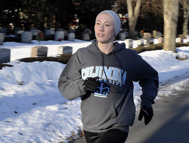 Running sprints outdoors helps keep Columbia University-bound Charlotte Pierce in fit condition for the numerous track events in which she excels.