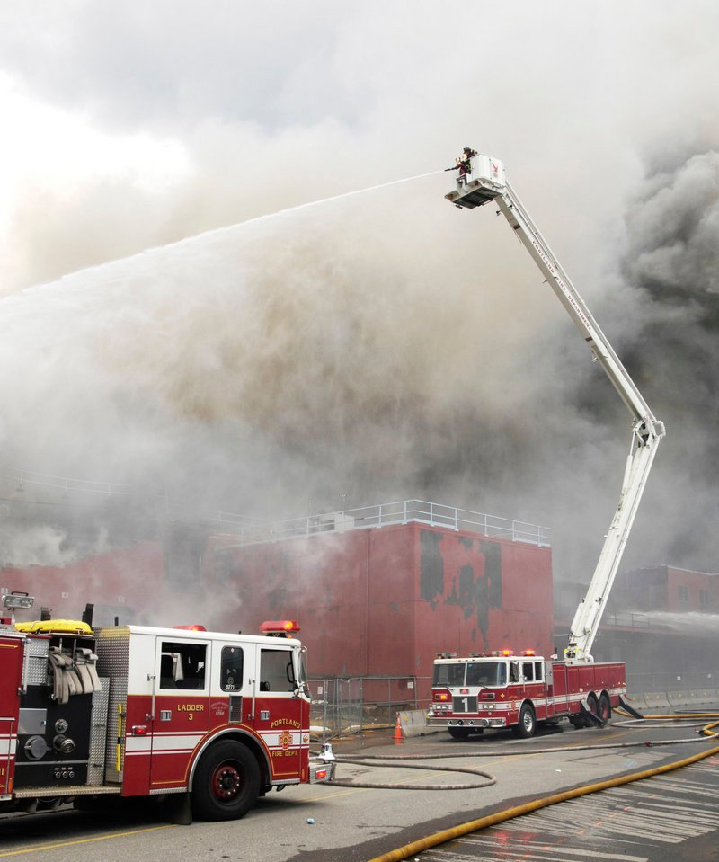 Portland personnel fight a fire at the Jordan's Meats plant on Middle Street in May 2010. The department has an annual budget of $16 million.