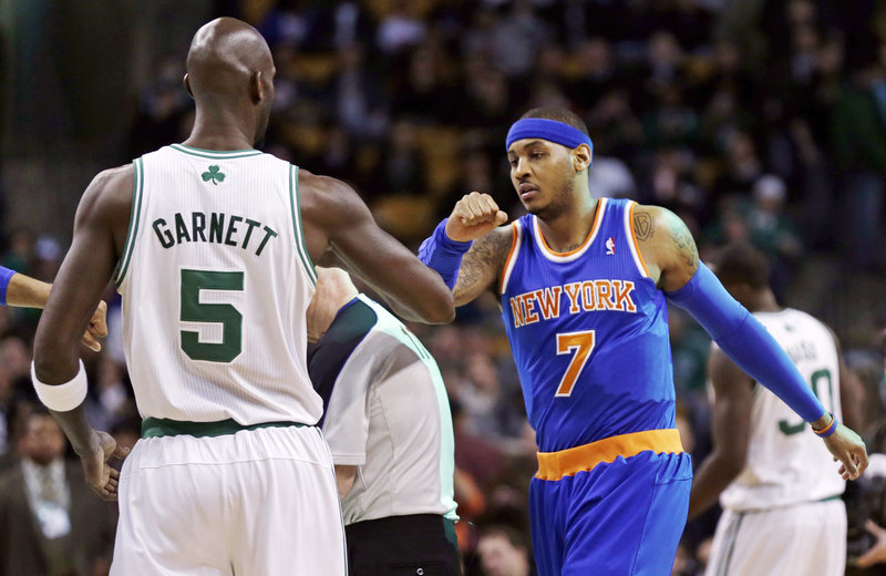 Kevin Garnett of the Boston Celtics and Carmelo Anthony of the New York Knicks, who had a verbal altercation 17 days before, greet each other Thursday night before Anthony scored 28 points in New York's 89-86 victory.