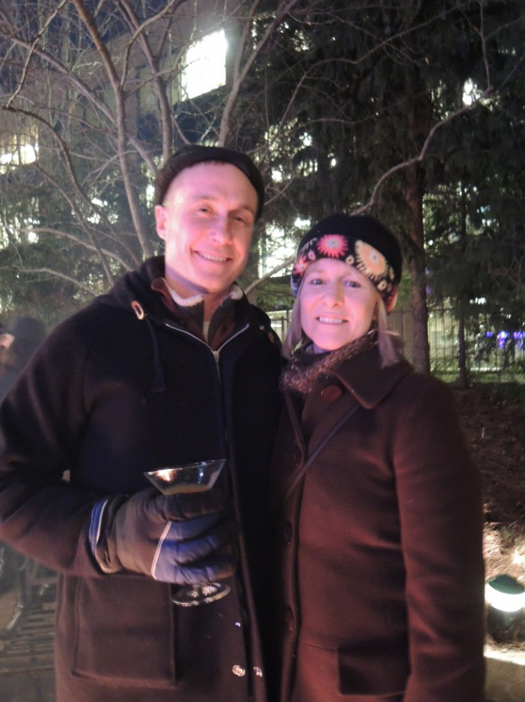 Chris and Carol Zechman of South Portland enjoy fireside martinis at the annual Ice Bar event.