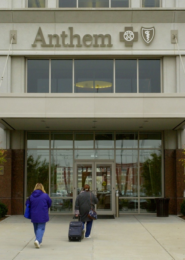 """Employees enter Anthem Inc. headquarters in Indianapolis. PL 90 lets Anthem Health Plans of Maine and other insurers implement individual policy rate hikes without forcing them """"to lose money in other markets,"""" a reader says."""