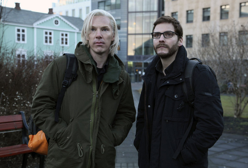 "Actors Benedict Cumberbatch as Julian Assange, left, and Daniel Bruhl as Daniel Domscheit-Berg are seen during the production of ""The Fifth Estate,"" about the WikiLeaks drama."