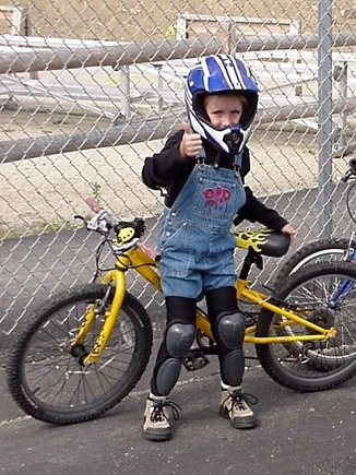 Noble at age 7, when she started competing in mountain bike races.