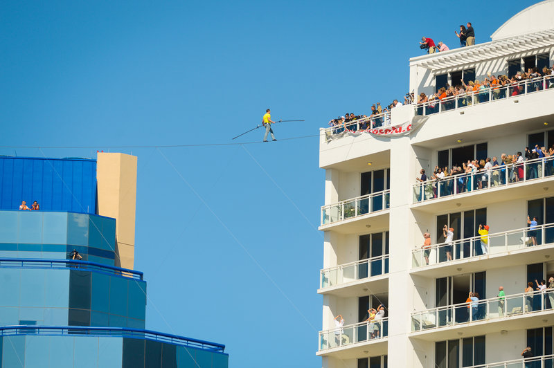 Aerialist Nick Wallenda's life is in the balance Tuesday in Sarasota, Fla.