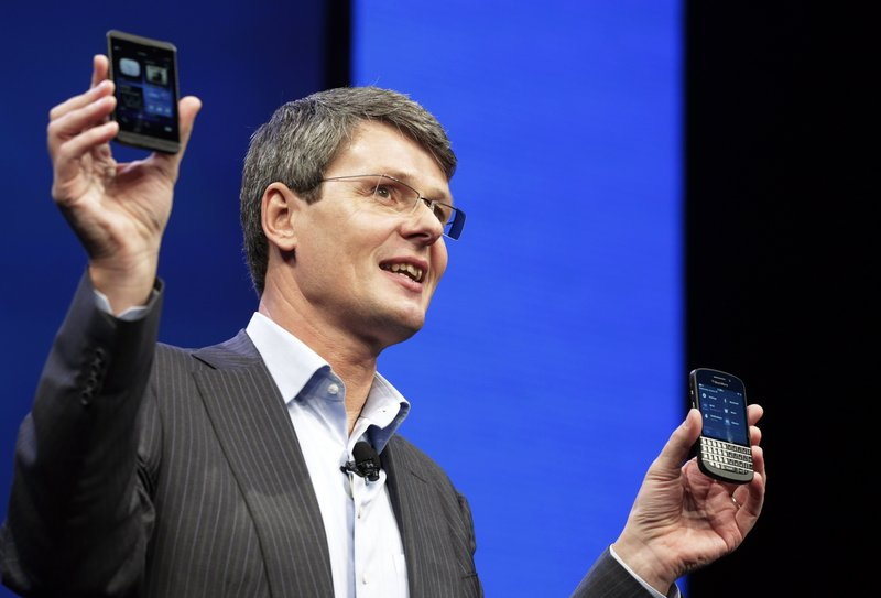 Thorsten Heins, CEO of Research in Motion, introduces the BlackBerry 10 in New York on Wednesday. The company is promising a speedy browser, a superb typing experience and the ability to keep work and personal identities separate on the same smartphone.