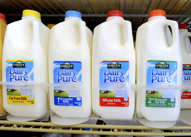 Garelick Farms milk is sold at a 7-Eleven in Portland on Thursday. The Garelick Farms facility in Bangor has been closed by its parent company, Dean Foods.